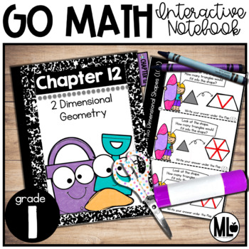 First Grade Math Interactive Notebook, Two-Dimensional Geometry - Chapter 12