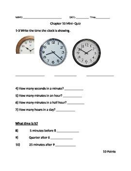 GoMath Third Grade Chapter 10 Quiz