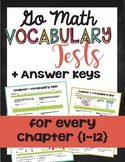 {Go Math - Third Grade} Vocabulary Assessments - All Chapters