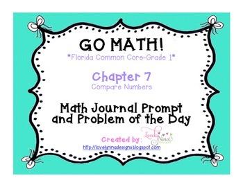 GoMath!(1st grade)FLA CC Ch. 7-12 Journal Prompts & Problem of the day BUNDLE