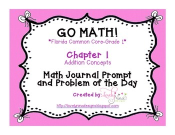 GoMath!(1st grade)FLA Common Core Chapter 1 Journal Prompts & Problem of the day