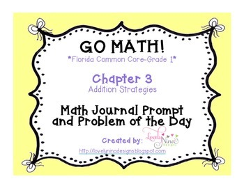 GoMath!(1st grade)FLA Common Core Chapter 3 Journal Prompt