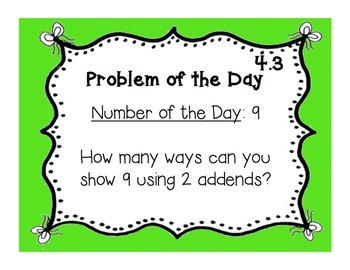 GoMath!(1st grade)FLA Common Core Chapter 4 Journal Prompts & Problem of the day