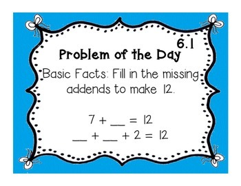 GoMath!(1st grade)FLA Common Core Chapter 6 Journal Prompts & Problem of the day