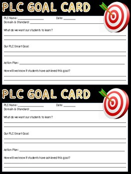 Goal Cards for PLC's and Individual Teachers