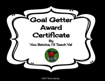 Goal Getter Award Certificate