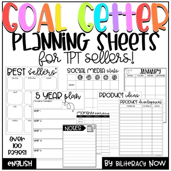 Goal Getter TPT Seller Planning Sheets! Over 100 pages!