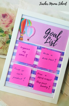 Goal List { Sticky Notes' Board } - Watercolor Hot Air Balloon Theme