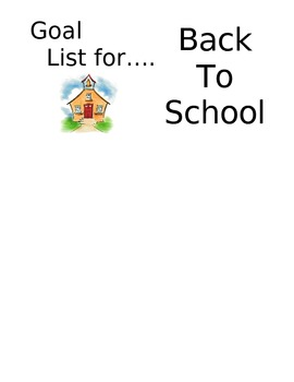 Goal List for.... Back To School  Post-It Note