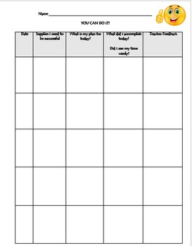 Student Goal, Planning, and Feedback Sheet