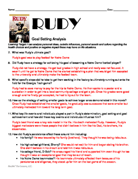 1.5 Goal Setting Activity for the movie, RUDY