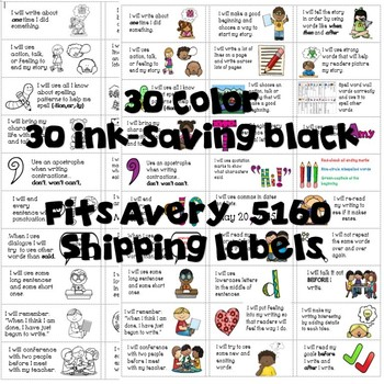 Goal Setting Bundle for Gr. 2 Narrative Writers! Posters & Labels