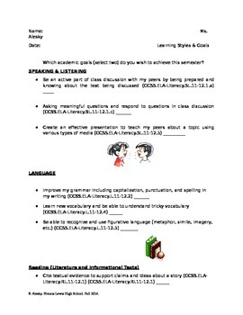 Goal Setting ELA activity/worksheet - Common Core Inspired