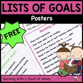 Goal Setting For Students - Lists of Goals FREEBIE!