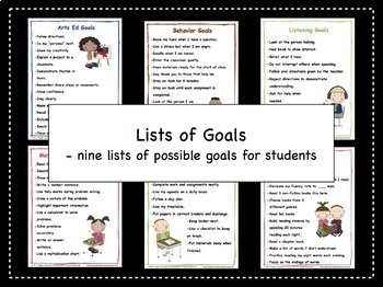 Goal Setting For Students - Lists of Goals FREEBIE!