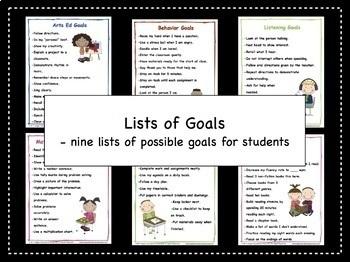 Goal Setting For Students | Lists of Goals | FREEBIE