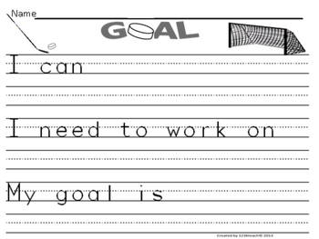 Goal Setting In Kindergarten-Hockey Theme
