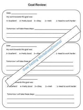 Goal Setting Journal/Worksheet for students