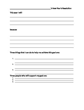 Goal Setting: New Year's Resolution worksheet