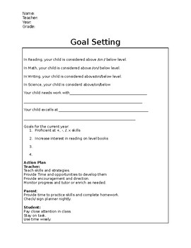 Goal Setting Parent Conference Sheet