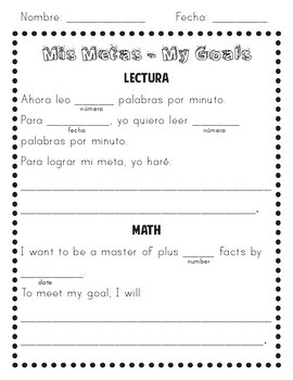 Goal Setting - Reading Fluency and Addition Facts