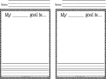 Goal Setting Response Printables:  Kindergarten & First Grade