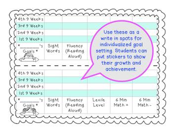 Goal Setting Tracker for K-2