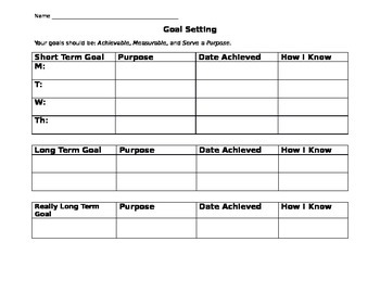 Goal Setting Worksheet By Sam Krueger