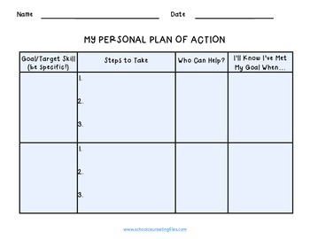 Goal Setting Worksheet By School Counseling Files