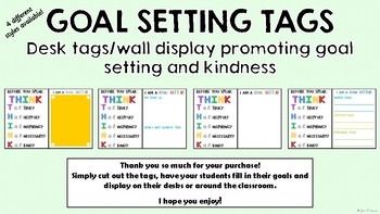 Goal Setting and Kindness Desk Tags or Posters