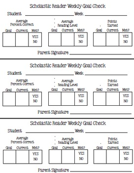 Goal Setting and Tracking Pack for Scholastic Reader