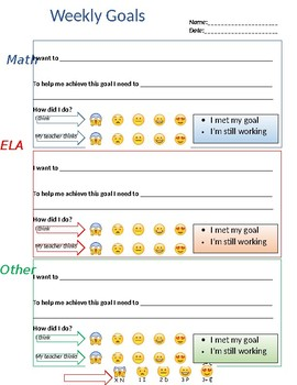 Goal Setting - editable - weekly student goals - personalized learning