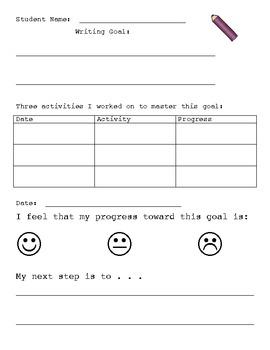 Goal Sheet Format to create Writing Goal