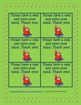 Hand Raising Instead of Students Leaving Seat Behavior Cards