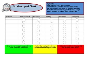 Goal Sheet for adapted or mainstream physical education