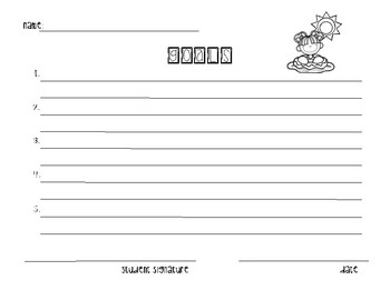 Goal Sheets-Summer Themed