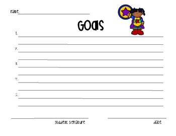 Goal Sheets-Superhero Themed