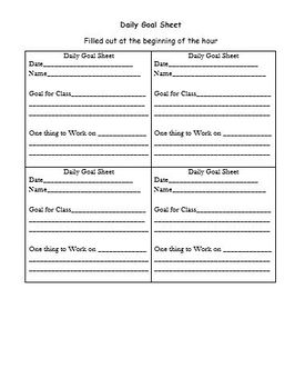 Goal Sheets for Special Education