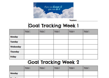daily goal tracker teaching resources teachers pay teachers