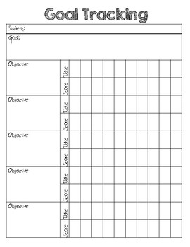 Goal and Objective Tracking Sheet