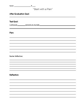 Goal and Reflection Sheet for Student Tests