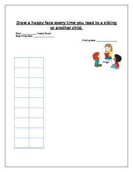 Goal chart for reading aloud (Happy Faces) TEN FRAME CHART