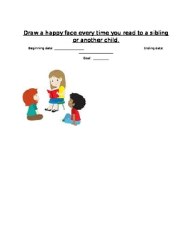 Goal chart for reading aloud to sibling/another child (Happy Faces)
