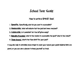Goal-setting Sheet for Teachers