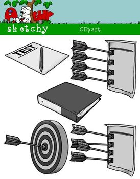 Goals, Benchmarks, Assessments Clipart Graphics 300dpi Color BW Grayscale