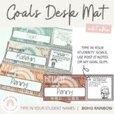 Modern BOHO RAINBOW Goals Desk Mat   Neutral Rainbow Theme