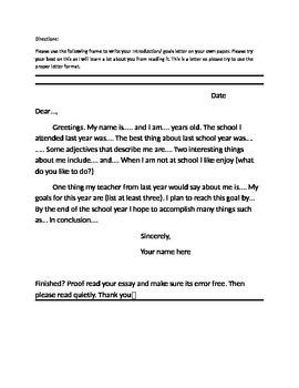 Goals Letter