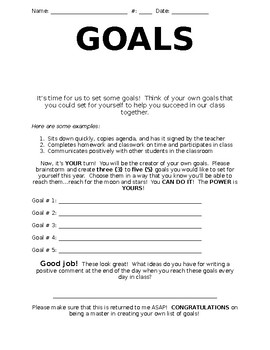 Goals Reflection Sheet