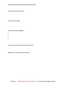 Goals Worksheet for IFSP/IEP Support and Evidence of Use