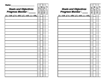Goals and Objectives Data Collection Form